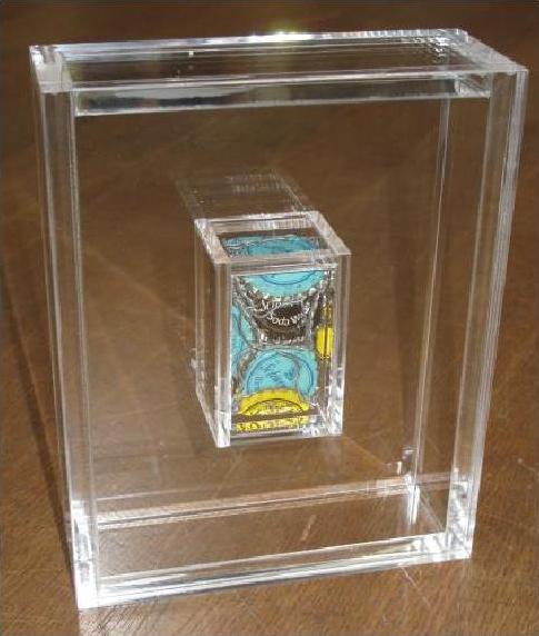 Sculpture de capsules de Schweppes de César présentée sous une boite en altuglas